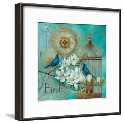 Blue Birds and Magnolia-Elaine Vollherbst-Lane-Framed Art Print