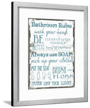 Bathroom Rules White-Taylor Greene-Framed Art Print