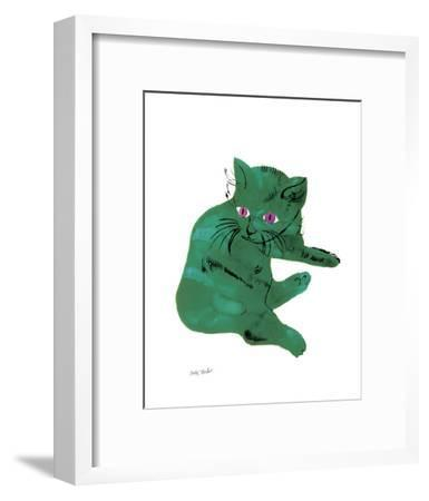 """Cat From """"25 Cats Named Sam and One Blue Pussy"""" , c. 1954 (Green Cat)-Andy Warhol-Framed Art Print"""