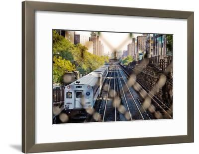 Metro North Train Through Fence--Framed Poster