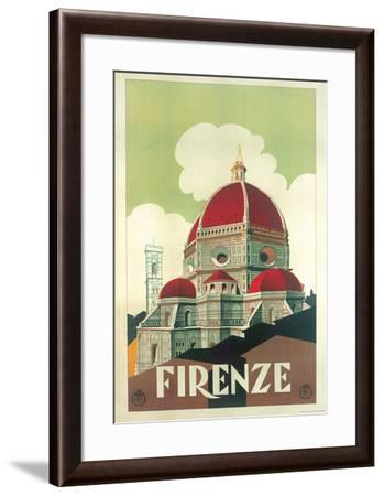 Firenze Cupola (Florence Dome) Italian Vintage Style Travel Poster--Framed Poster