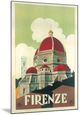 Firenze Cupola (Florence Dome) Italian Vintage Style Travel Poster--Mounted Poster