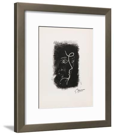 Profil de Femme from Souvenirs de Portraits d'Artistes. Jacques PrŽvert: Le Coeur-Georges Braque-Framed Collectable Print