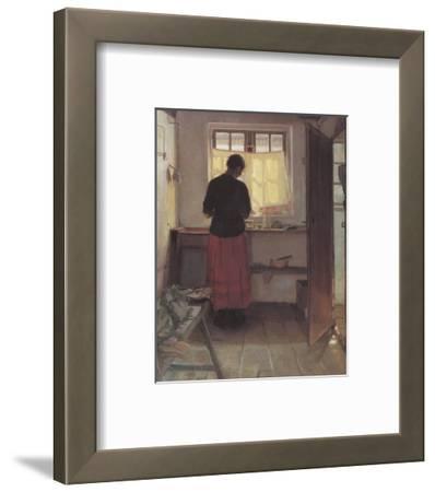 Girl in the Kitchen-Anna Kirstine Ancher-Framed Premium Giclee Print
