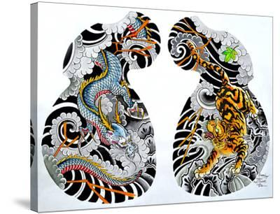 Dragon Tiger Tattoo Half Sleeve-Clark North-Stretched Canvas Print