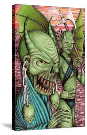 Green Demons-Carlos Fox Lopez-Stretched Canvas Print