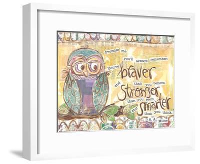 Pastel Owl Family 1 Braver Stronger Smarter-Erin Butson-Framed Art Print
