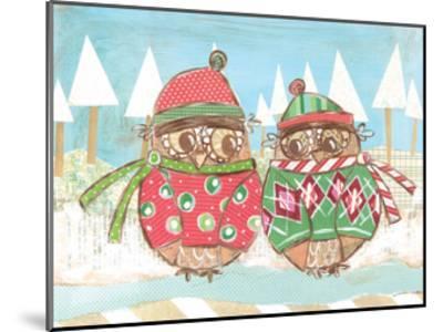 Christmas Owls 3-Erin Butson-Mounted Art Print
