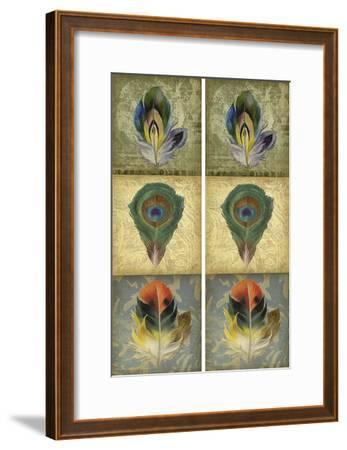 2-Up Feather Triptych II-Jennifer Goldberger-Framed Art Print