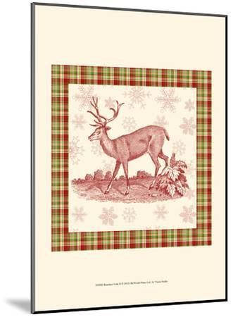 Reindeer Toile II-Vision Studio-Mounted Art Print