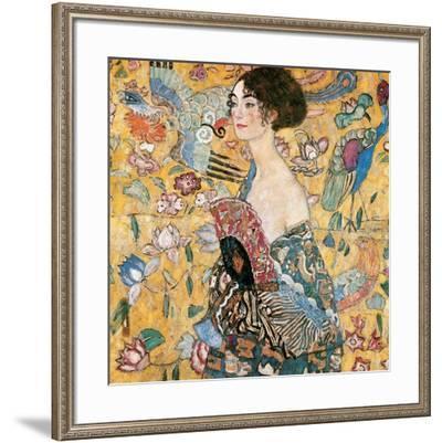 Woman with fan-Gustav Klimt-Framed Art Print