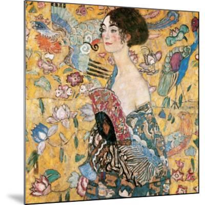 Woman with fan-Gustav Klimt-Mounted Art Print