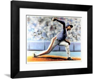 The Delivery (New York Mets Dwight Gooden)-Jack Lane-Framed Art Print