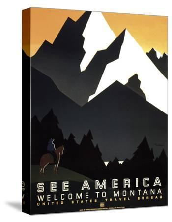 See America - Welcome to Montana II--Stretched Canvas Print
