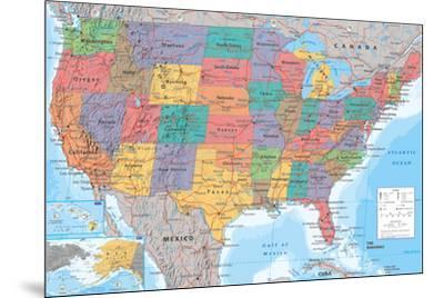 USA Map--Mounted Poster