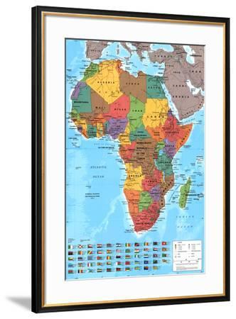 Africa Map Reference Poster--Framed Poster