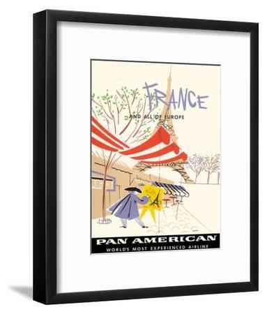 Pan American Airlines (PAA) - France and All Of Europe-A^ Amspoker-Framed Giclee Print