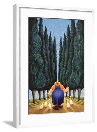Cypress and Geese-Lowell Herrero-Framed Art Print