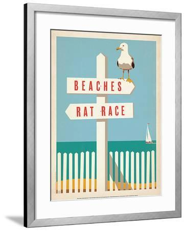 Beaches vs. Rat Race-Anderson Design Group-Framed Art Print
