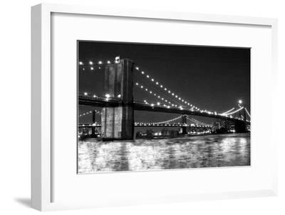Brooklyn Bridge and Manhattan Bridge, Night-Phil Maier-Framed Art Print