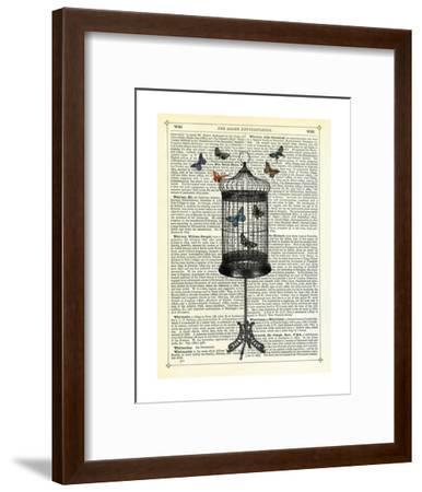 Bird Cage & Butterflies-Marion Mcconaghie-Framed Art Print
