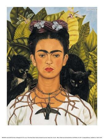 Self-Portrait with Thorn Necklace and Hummingbird, c.1940-Frida Kahlo-Art Print
