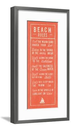Beach Rules - Coral-The Vintage Collection-Framed Art Print