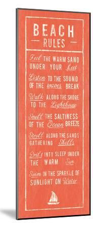 Beach Rules - Coral-The Vintage Collection-Mounted Art Print