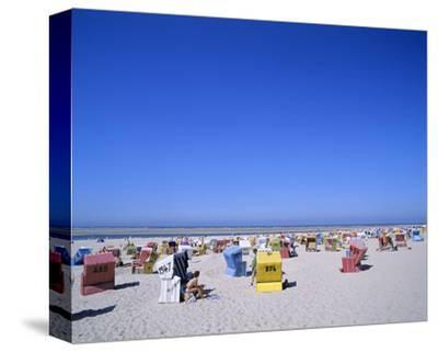 Beach chairs on Nordstrand, Langeoog, East Frisian Islands, Lower Saxony, Germany--Stretched Canvas Print