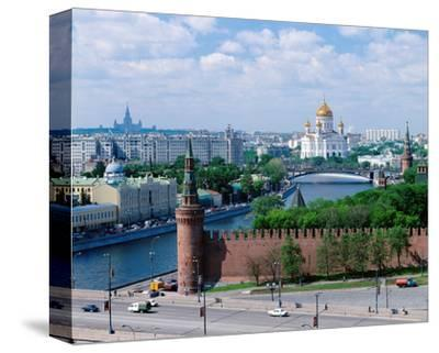 Cathedral of Christ the Saviour and Kremlin Wall, Moscow, Russia--Stretched Canvas Print