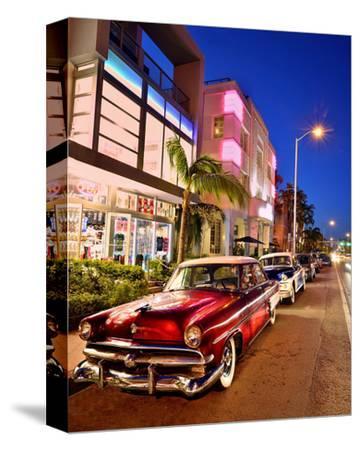 Dodge Classic Car on Collins Avenue, Miami Beach in Miami, Florida, USA--Stretched Canvas Print