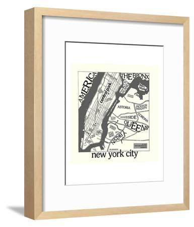 New York Map-Urban Cricket-Framed Art Print