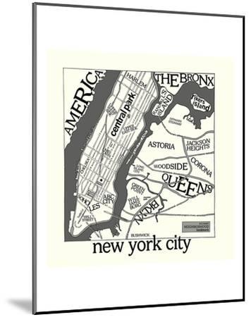 New York Map-Urban Cricket-Mounted Art Print