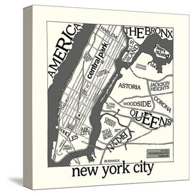 New York Map-Urban Cricket-Stretched Canvas Print