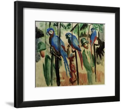 With the parrots-Auguste Macke-Framed Giclee Print