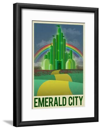 Emerald City Retro Travel Poster--Framed Poster