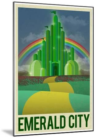 Emerald City Retro Travel Poster--Mounted Poster