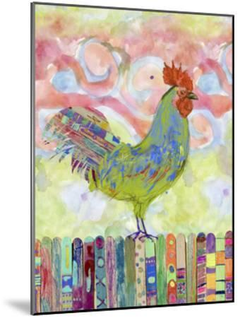 Rooster on a Fence I-Ingrid Blixt-Mounted Art Print