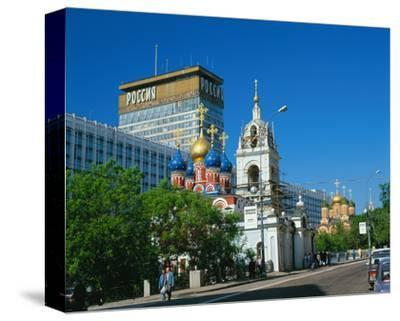 Russian orthodox churches at Hotel Rossiya, Moscow, Russia--Stretched Canvas Print