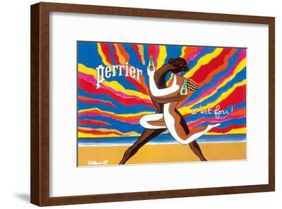 Perrier - The Dancing Couple (Le Couple Dansant) - This is Crazy! (C'est Fou!)-Bernard Villemot-Framed Art Print