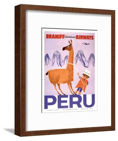 Peru - Braniff International Airways - Native Boy with Llama--Framed Art Print