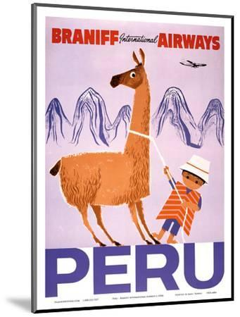 Peru - Braniff International Airways - Native Boy with Llama--Mounted Art Print