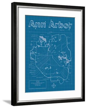 Ann Arbor Artistic Blueprint Map-Christopher Estes-Framed Art Print