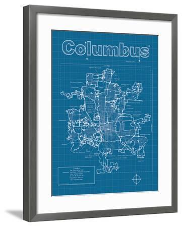 Columbus Artistic Blueprint Map-Christopher Estes-Framed Art Print