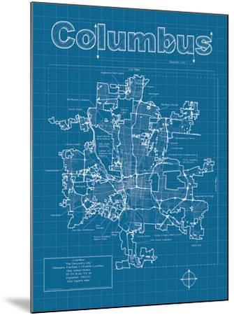 Columbus Artistic Blueprint Map-Christopher Estes-Mounted Art Print