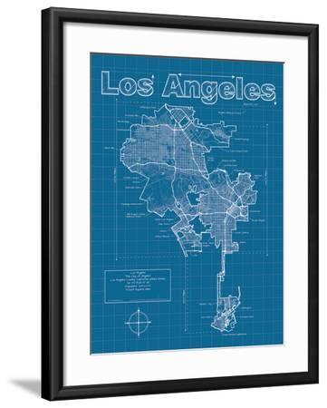 Los Angeles Artistic Blueprint Map-Christopher Estes-Framed Art Print