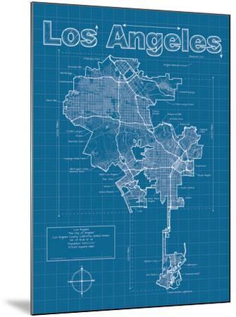 Los Angeles Artistic Blueprint Map-Christopher Estes-Mounted Art Print