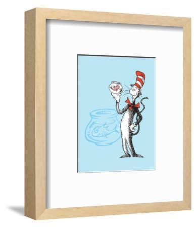 Cat in the Hat Blue Collection I - The Cat in the Hat with Fish (blue)-Theodor (Dr. Seuss) Geisel-Framed Art Print