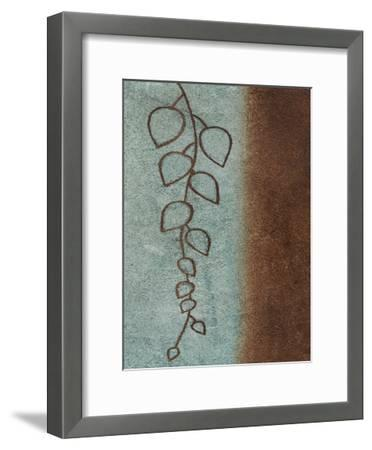 Brown & Blue Leaves Mate-Kristin Emery-Framed Art Print