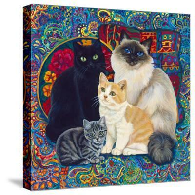 Carpet Cats 1-Megan Dickinson-Stretched Canvas Print